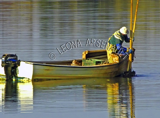 CANADA;PRINCE EDWARD ISLAND;QUEEN'S COUNTY;STANLEY BRIDGE;DORY;BOAT;WATER;OYSTER FISHERMAN;FISHERMAN;REFLECTION;NAUTICAL;FALL;SEASCAPE;HORIZONTAL